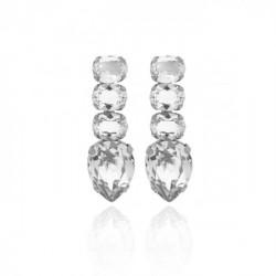 Silver Earrings Aura Crystal