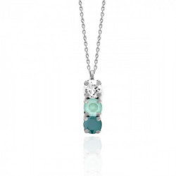 Silver Necklace Celine minis Royal Green