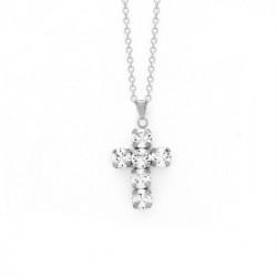 Collar cruz crystal de Minimal en plata
