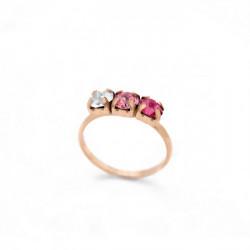 Anillo triple rose de Celine en oro rosa