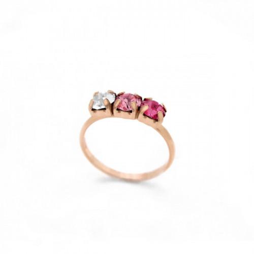 Anillo Celine tres minis oro rosa