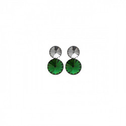 Combination circle emerald earrings in rose gold