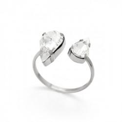 Silver Ring Celine double Drops