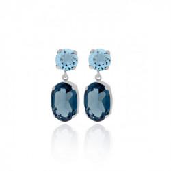 Pendientes oval denim blue de Celine en plata