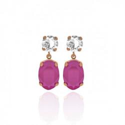 Pendientes oval peony pink de Celine en oro rosa