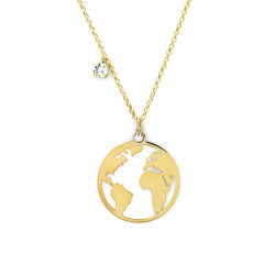 Collar mundo crystal de Minimal en oro
