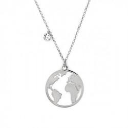 Collar mundo crystal en plata