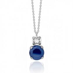 Collar tú y yo royal blue de Celine en plata