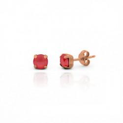 Pendientes redondos light coral de Minimal en oro rosa