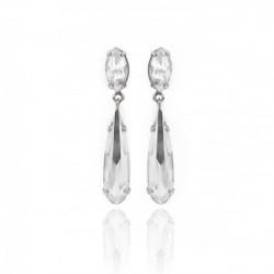 Pendientes lágrimas crystal de Celine Drops en plata