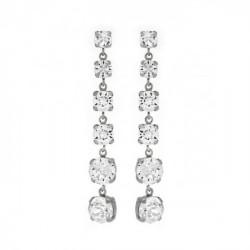 Pendientes redondos crystal de Celine en plata