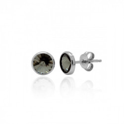 Pendientes redondos diamond de Basic en plata