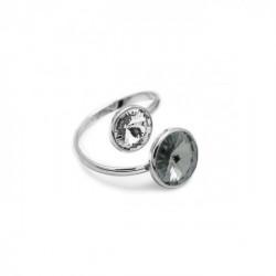 Anillo cruzado diamond de Basic en plata