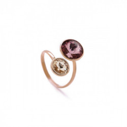 Basic crossed antique pink ring in rose gold