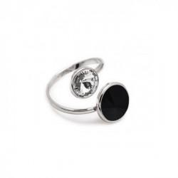 Basic crossed jet ring in silver