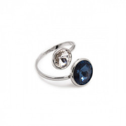 Basic crossed denim blue ring in silver