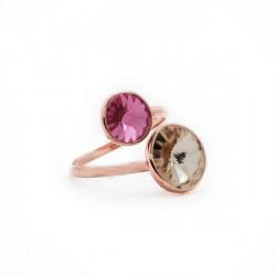 Basic crossed light rose ring in rose gold