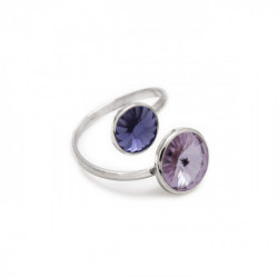 Basic crossed violet ring in silver