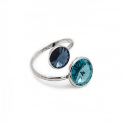 Basic crossed light turquose ring in silver