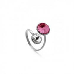 Basic crossed rose ring in silver