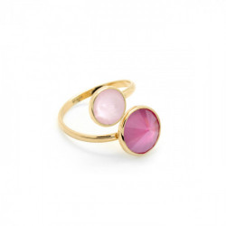 Basic crossed peony pink ring in gold