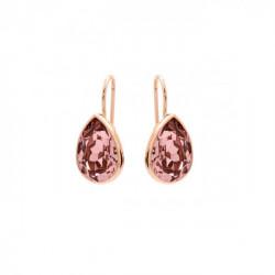 Pendientes lágrima rosa vintage de Essential en oro rosa