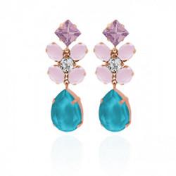 Pendientes flor lágrima azure blue de Celine en oro rosa