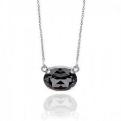 Collar oval silver night de Celine en plata