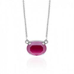 Collar oval peony pink de Celine en plata