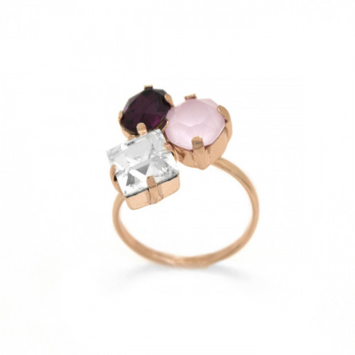 Pink Gold Ring Celine 3 crystals