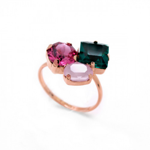 Pink Gold Ring Celine 3 crystals