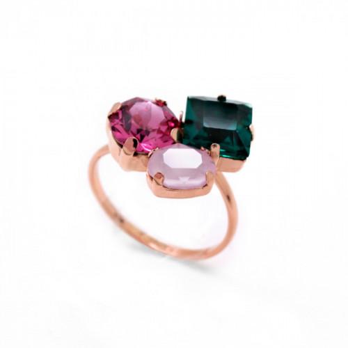 Anillo Celine 3 cristales