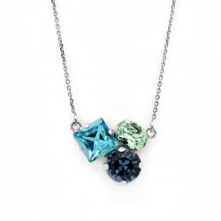 Collar triple light turquoise de Celine Cube en plata