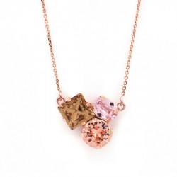 Collar triple light topaz de Celine Cube en oro rosa