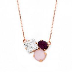 Collar triple crystal de Celine Cube en oro rosa
