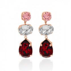 Pink Gold Triple Earrings oval