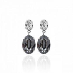 Silver Earrings Celine double