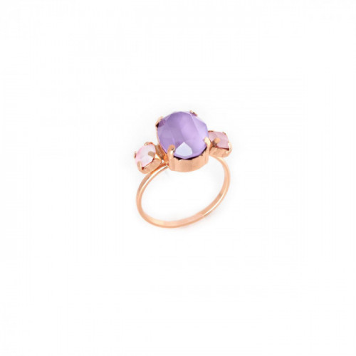 Rose Gold Ring Celine triple Lilac