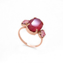 Anillo óvalos royal red de Celine en oro rosa