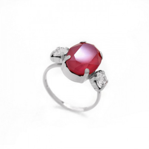 Silver Ring Celine triple Royal Red
