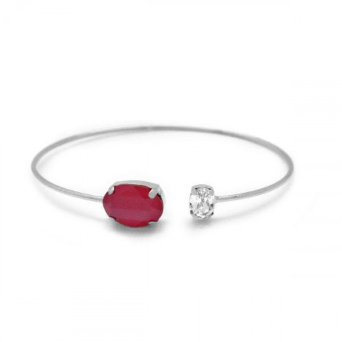 Silver Miah Bangle Royal Red
