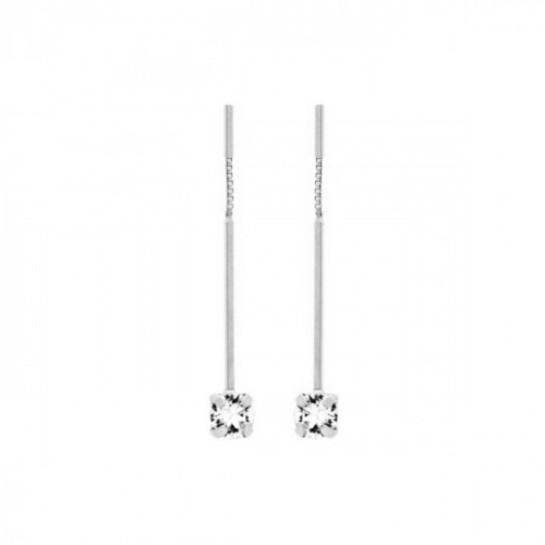 Silver Earrings Minimal bar and crystal