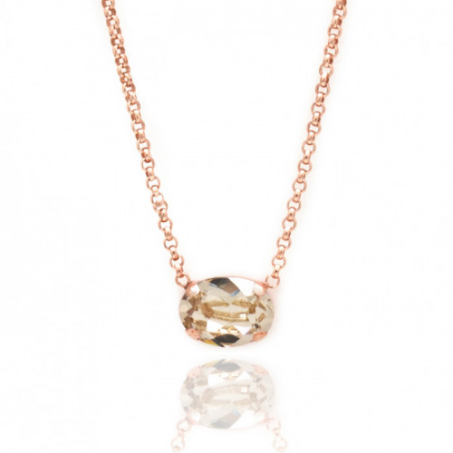 Pink Gold Necklace Celine oval mini