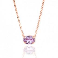 Collar oval violet de Celine en oro rosa