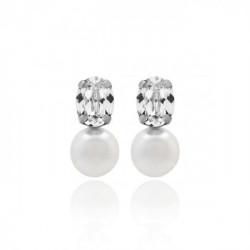 Pendientes tú y yo perla crystal de Celine en plata
