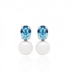 Pendientes Tú y yo perla aquamarine de Celine en plata