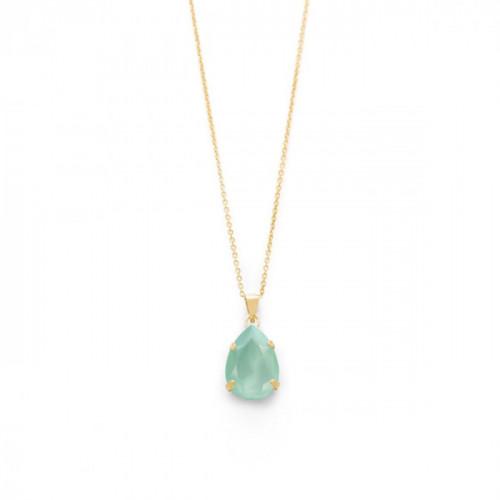 Gold Necklace Celine teardrop Mint Green