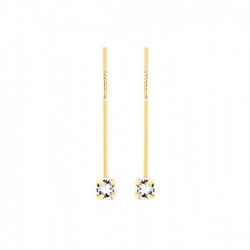 Gold Earrings Minimal bar and crystal