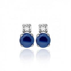 Pendientes redondos royal blue de Celine en plata