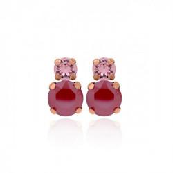 Pendientes redondos royal red de Celine en oro rosa